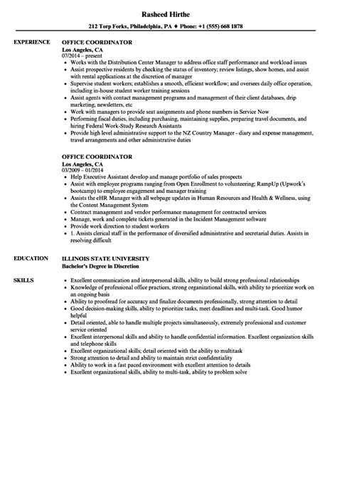 Office Coordinator Resume by Office Coordinator Resume Sles Velvet