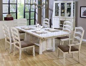 Distressed Dining Room Furniture by Distressed Wash White Finish Country Style Dining Set