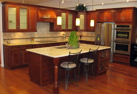 cherry cabinets with quartz countertops sycamore cherry cabinets with giallo regal granite