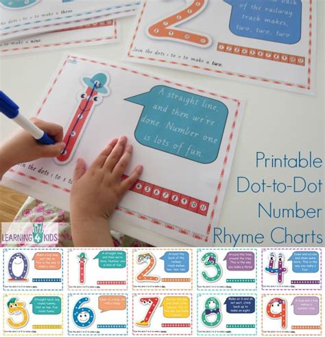 free printable dot to dot number rhyme charts pin number writing dot to dots 4 coloring worksheets free