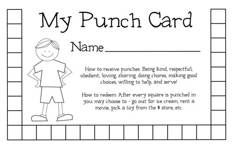 Punch Card Template For School by Organizing Weheartfreebies