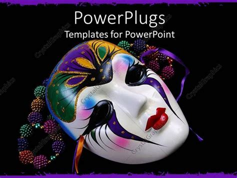 Powerpoint Template Black Background With Colorful Beads And Mardi Gras Mask 19649 Mardi Gras Powerpoint Template