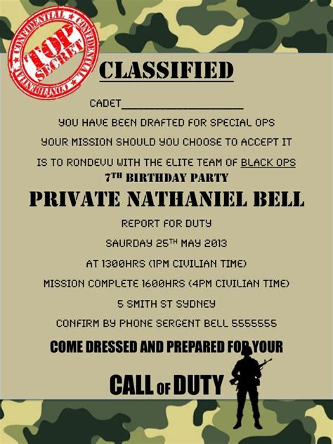 Invite To Duke Mba Chances by Army Call Of Duty Black Ops Invitation