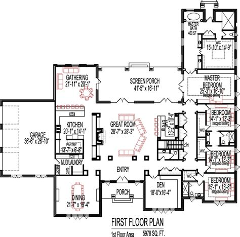 5 bedroom house plans open floor plan design 6000 sq ft simple house plans with also modern 5 bedroom designs