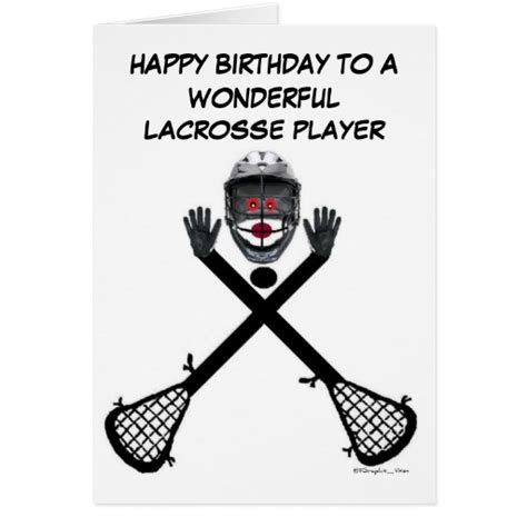 Lacrosse Gift Cards - lacrosse player birthday greeting card zazzle