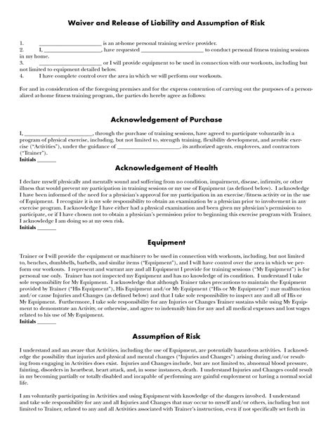 10 Best Images Of Personal Training Agreement Form Personal Training Contract Templates Personal Liability Waiver Template