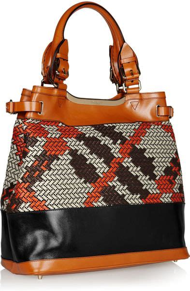 Nicky And Burberry Prorsum Tote by Burberry Prorsum Raffia And Leather Tote In Brown Black