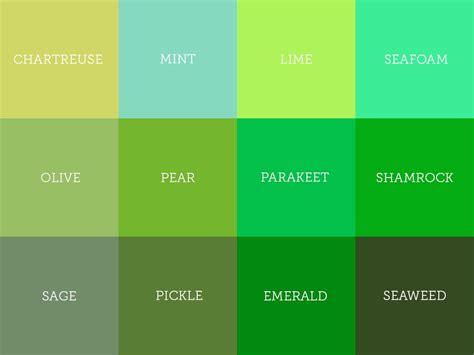 green color shades 28 shades of green 20 shades of green color names