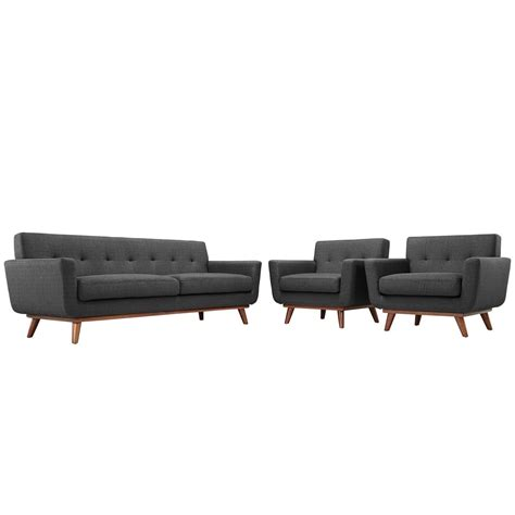 Sofa Armchair Set by Engage Modern 2pc Upholstered Button Tufted Sofa Armchair
