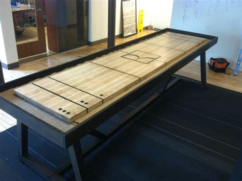 custom made tables crafted shuffleboard table by riftsawn carpentry