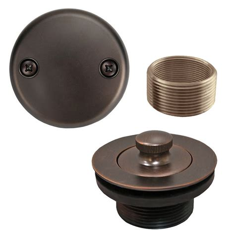 rubbed bronze lift and turn tub drain bathtub