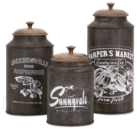 Farmhouse Kitchen Canister Sets And Darby Metal Canisters Set Of 3 Farmhouse Kitchen