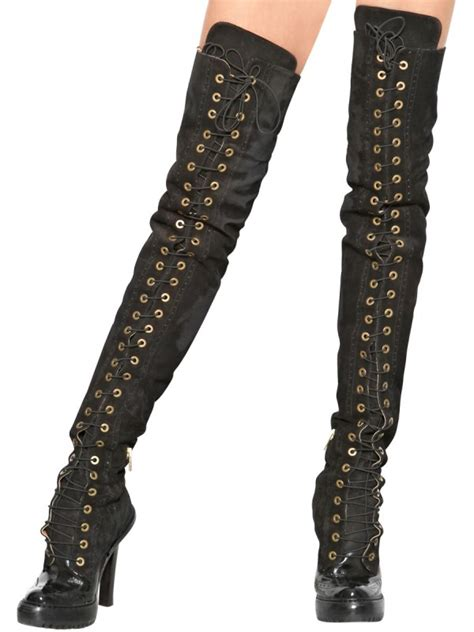 Heels Pita Suede Ankle R078 lyst mcq 120mm suede lace up the knee boots in black