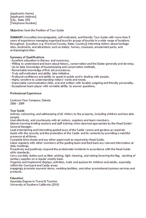 tour guide resume cover letter 1