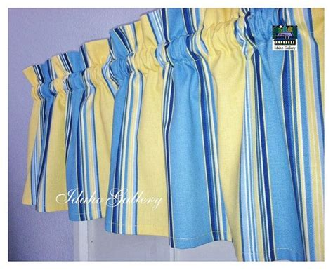 blue yellow stripe window valance curtain modern