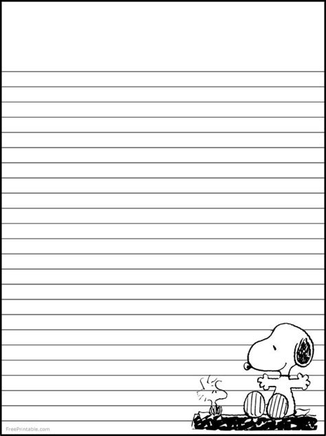 printable journal writing paper snoopy woodstock stationary free printable stationary