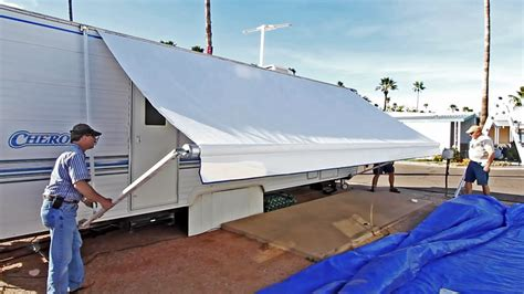 how to open an rv awning how to replace an rv patio awning new fabric discount
