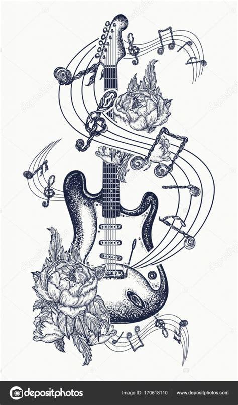 tatuaż gitara gitara elektryczna r 243 że i nut grafika