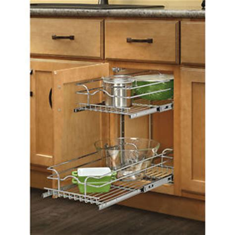 metal pull out cabinet 2 tier sliding shelves kitchen