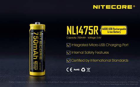 Nitecore 16340 Micro Usb Rechargeable Li Ion Battery 650mah Nl1665r nitecore nl1475r 750mah 14500 built it microusb rechargeable li ion battery
