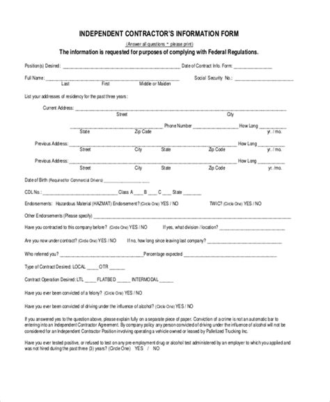 Sle Independent Contractor Forms 8 Free Documents In Word Pdf Independent Contractor Form Template