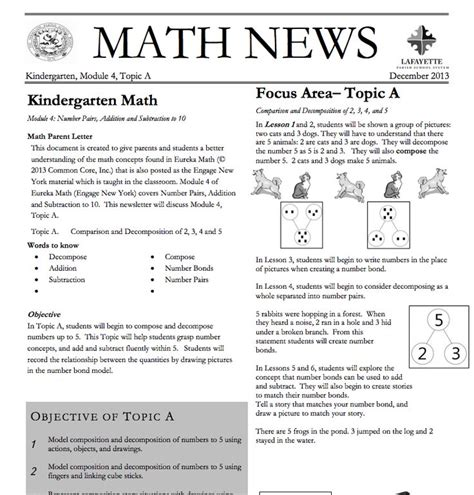Parent Letter Eureka Math Kindergarten Module 4 Topic A Parent Newsletter Developed By Eureka Math Users Lafayette