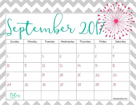 printable calendar cute 2017 september 2017 calendar cute printable template with holidays