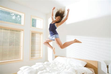 jumping into bed like a