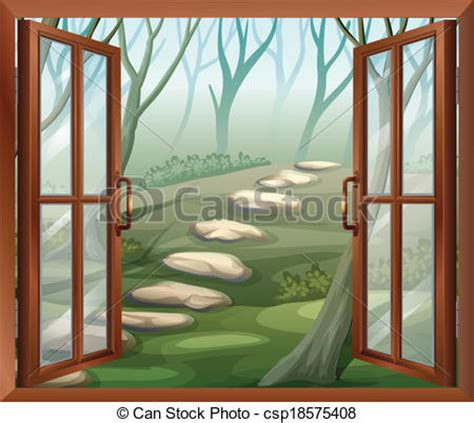 open curtains drawing an open window illustration of an open window vector