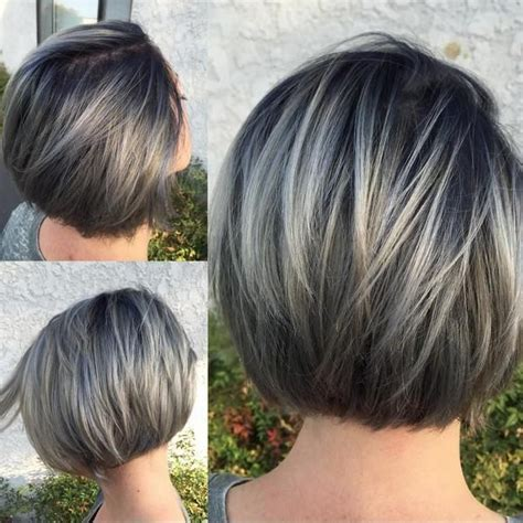 short haircuts brunettes with gray highlights image result for growing out grey hair with highlights