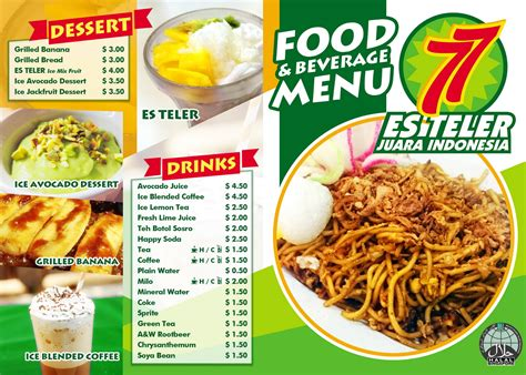 indonesian food design modern personable menu design for es teler 77 by