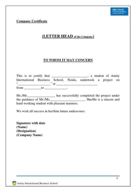 sample noc letter from employer oyle kalakaari co internship