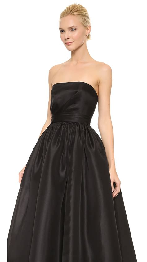 draped bodice reem acra draped bodice ball gown black in black lyst