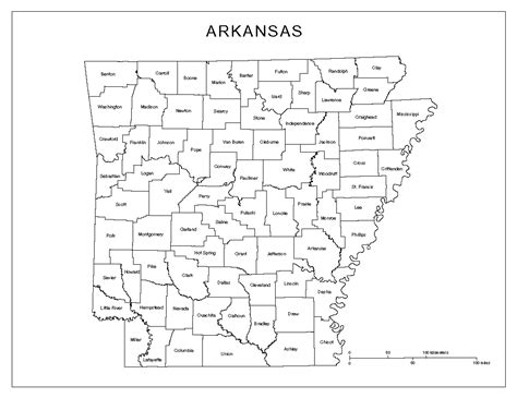 Arkansas County Outline Map by Arkansas Labeled Map