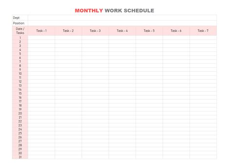 monthly staff schedule template excel free monthly employee schedule