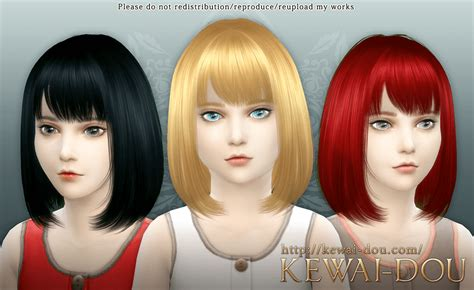 the sims 4 hair kids cecile the sims4 child hair kewai dou