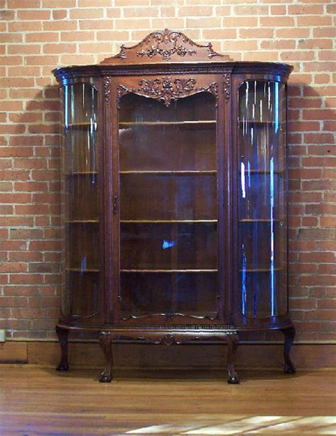 antique curio cabinet with curved glass price my item value of american victorian carved oak