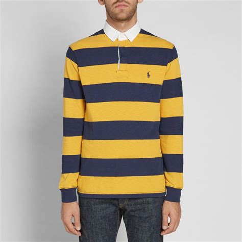 Polo Yellow Stripe Blue lyst polo ralph stripe rugby shirt in blue for