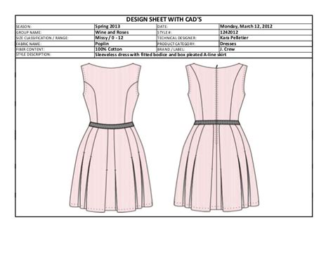 box pleated dress tech pack