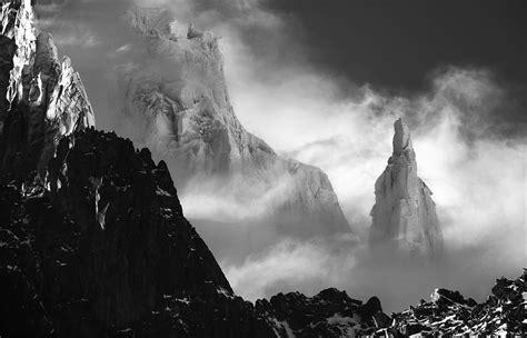 nature landscape mist mountain monochrome snow alps