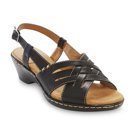 sears sandals womens i comfort s nell black leather slingback sandal