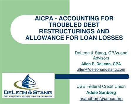 Allowance For Credit Losses Formula accounting for troubled debt restructurings