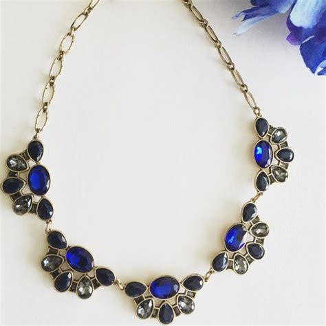 j crew necklace royal navy gray stoned with