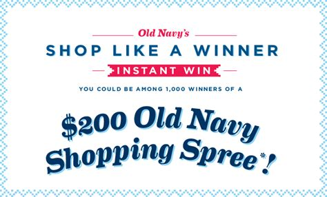 Old Navy Sweepstakes - old navy shop like a winner instant win game