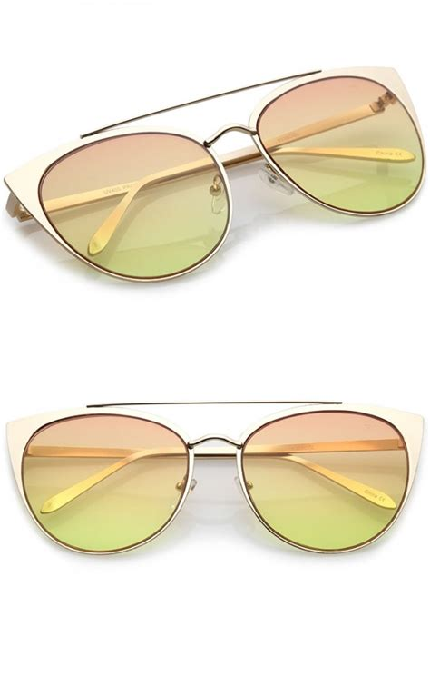 Colored Lens Cat Eye Sunglasses s oversize metal crossbar colored flat lens cat eye