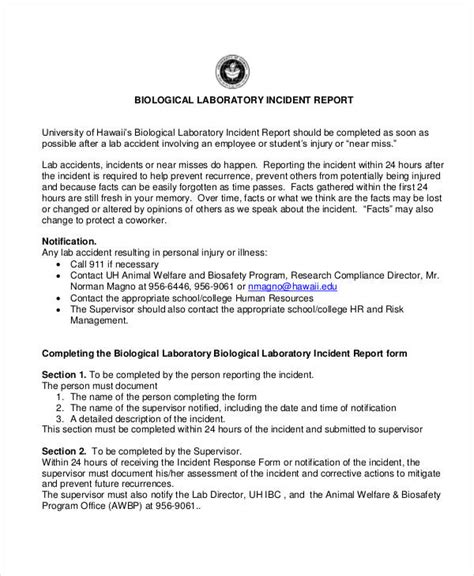 Incident Report Letter For Injury 31 Incident Report Exles