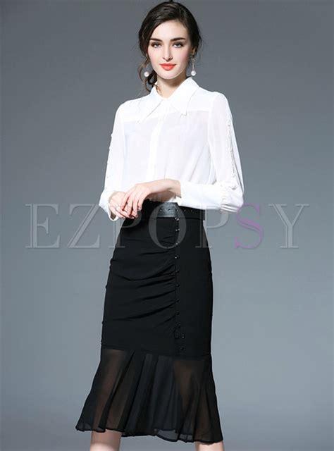 work white blouse slim mermaid skirt ezpopsy