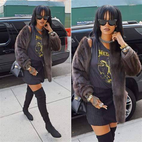 jacket fur faux fur jacket rihanna sunglasses bag