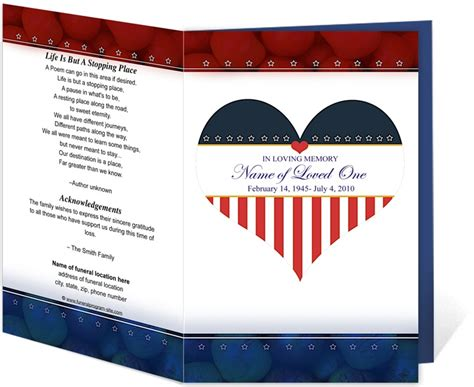 214 Best Creative Memorials With Funeral Program Templates Images On Pinterest Program Free Patriotic Funeral Program Template