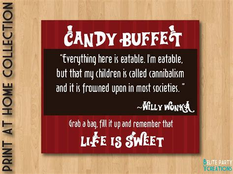 Willy Wonka Candy Buffet Sign By Papierdefete On Etsy Sign For Buffet